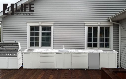 White 7 PC Outdoor Kitchen: BBQ Cabinet, 2 Door Cabinets, 3 Drawer Cabinet, side panel 592020 14