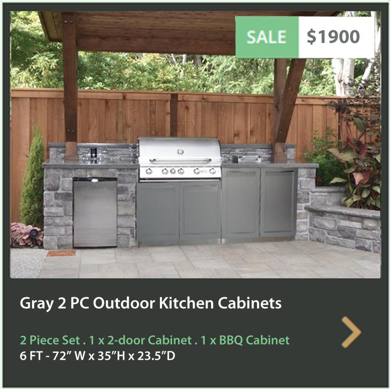 BBQ cabinet 2 door cabinet gray stainless steel outdoor kitchen