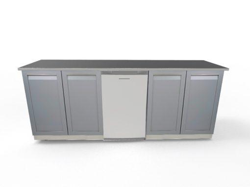 """Gray Outdoor Kitchen Island 3 PC Set: 2 x 2-Door Cabinet, 88"""" Stainless Countertop 6"""