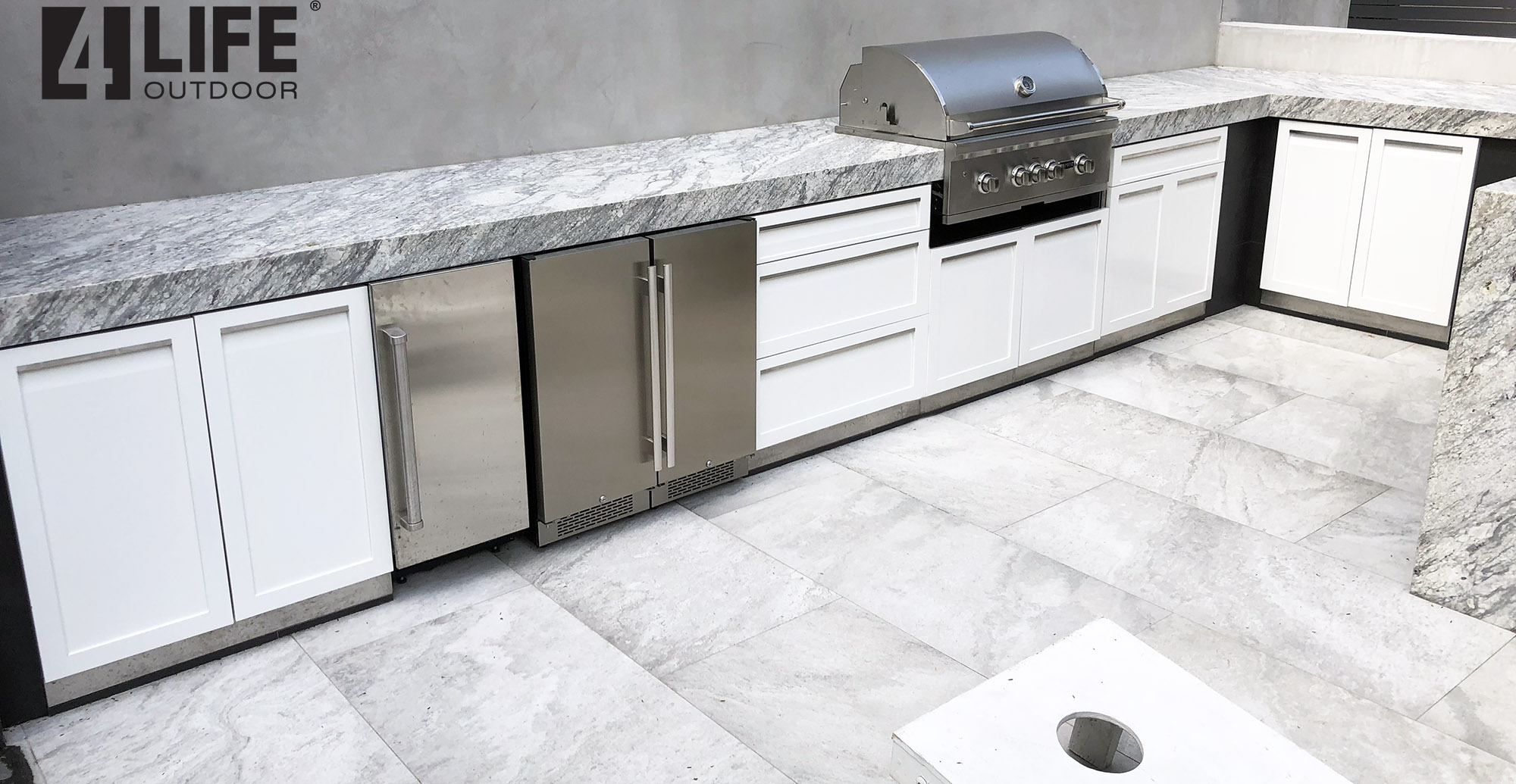4 Life Outdoor Kitchen white Stainless steel cabinets with Big stone countertop