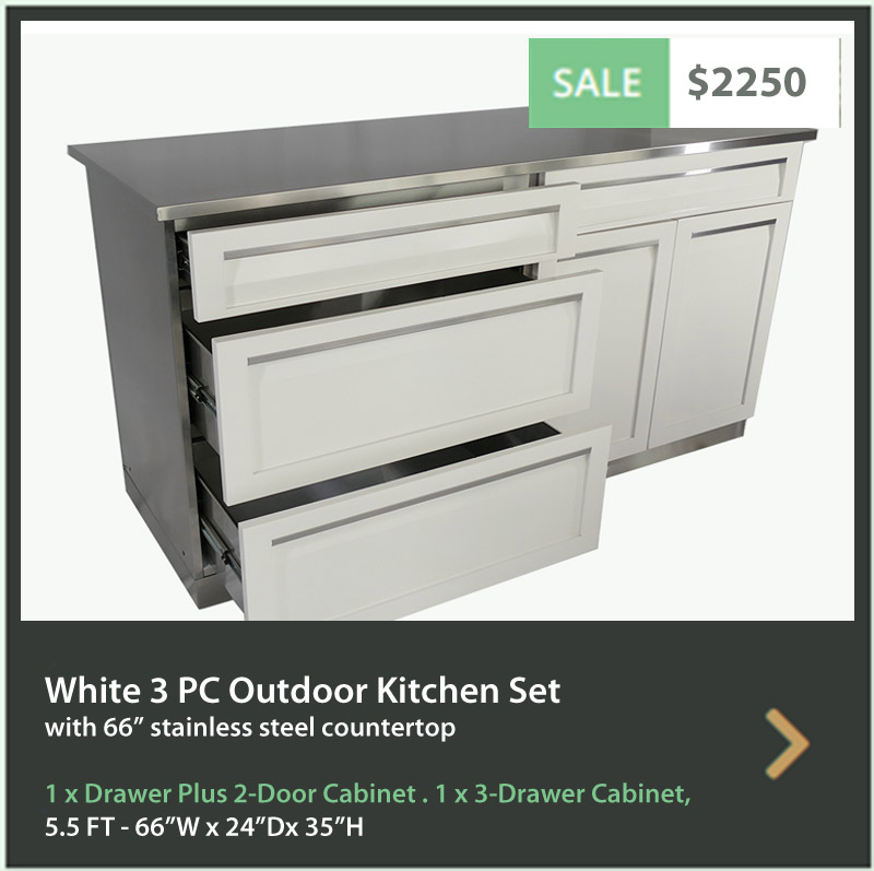 4 Life Outdoor Product Image 3 PC Set White Stainless Steel Cabinets 1xDrawer+2 Door 1x3-Drawer Cabinet 66 inch Stainless Countertop