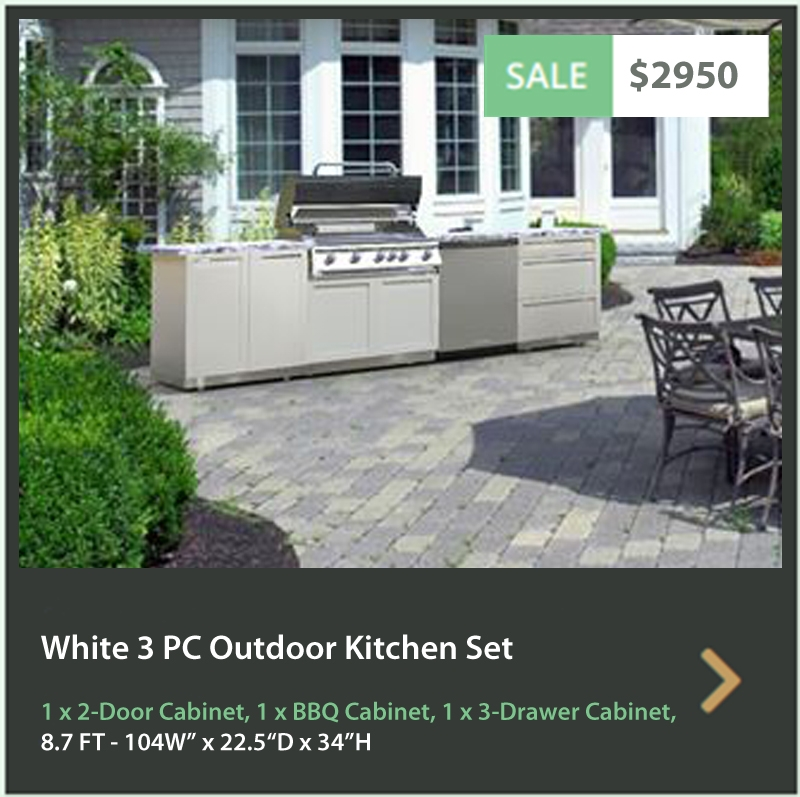 4 Life Outdoor Product Image 3 PC set White Stainless Steel Cabinets 2 Door Cabinet BBQ Cabinet and 3 Drawer Cabinet