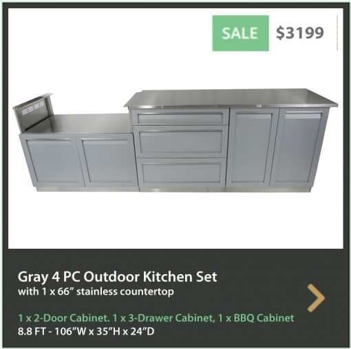 4 Life Outdoor Product Image 4 PC set Gray stainless steel cabinets 2 door 3 Drawer BBQ cabinet 66 inch stainless countertop