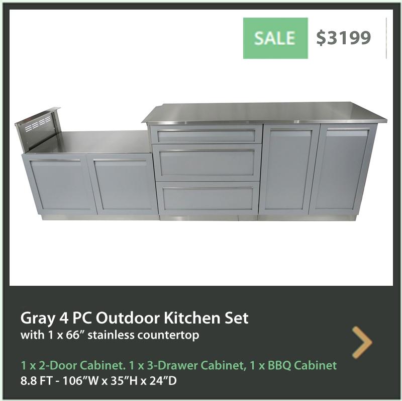 Gray 2-Door Stainless Steel Outdoor Kitchen Cabinet - G40001 9