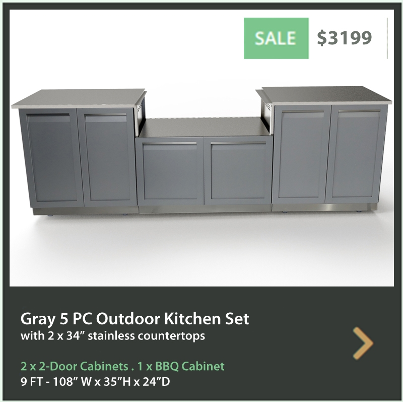 4 Life Outdoor Product Image 5 PC Outdoor kitchen 2 x 2 door BBQ 34 tops2