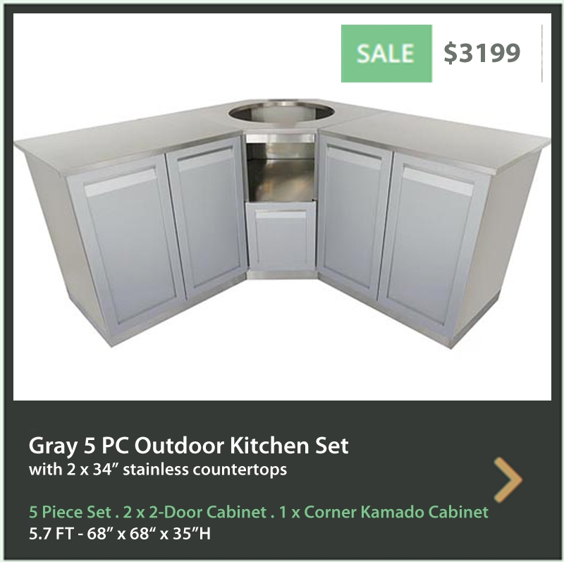 4 Life Outdoor Product Image 5 PC Outdoor Kitchen Gray 2x2 Door 1x3-Drawer 1xDrawer+2-door Cabinet 1xBBQ Cabinet