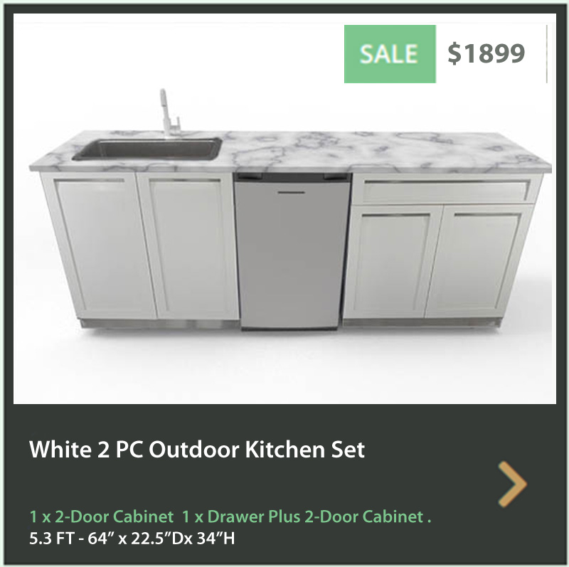 4 Life Outdoor Product Image 5 PC White Outdoor kitchen 1x2 door Cabinet 1xDrawer+2-Door Cabinet