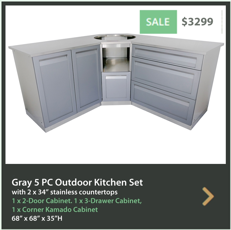 4 Life Outdoor Product Image 5 PC set Gray stainless steel cabinets 2 door 3 drawer BBQ cabinet 34 inch stainless countertops