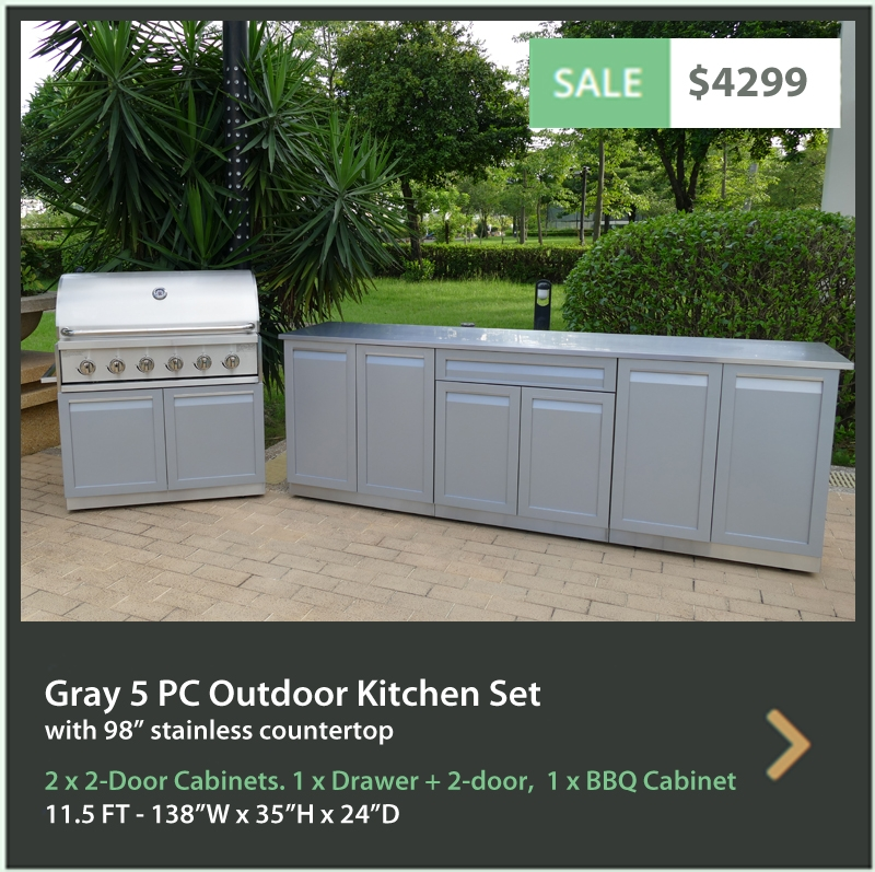 4 Life Outdoor Product Image 5 PC set Gray stainless steel cabinets 2 x 2 door cabinet Drawer + 2 door cabinet BBQ cabinet 98 inch stainless countertop