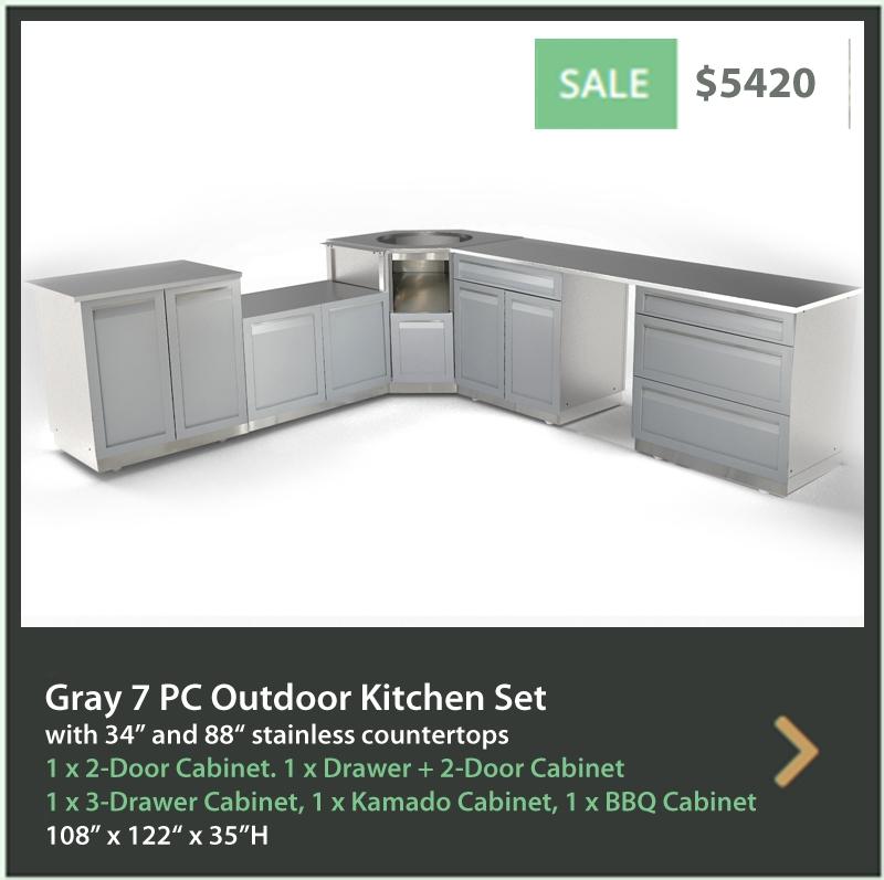4 Life Outdoor Product Image 7 PC Outdoor kitchen Gray 2 door cabinet Drawer + 2 door 3 Drawer Kamdo Corner BBQ cabinet 34 88 inch stainless countertops