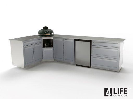 Gray 6 PC Outdoor Kitchen: 2 Door Cabinet, Kamado Cabinet, Drawer + 2-door Cabinet, 3 Drawer, countertops 18
