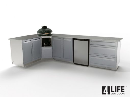 Gray L-shaped outdoor kitchen Kamado 2 door cabinets 3 drawer cabinet 34 88 stainless countertop