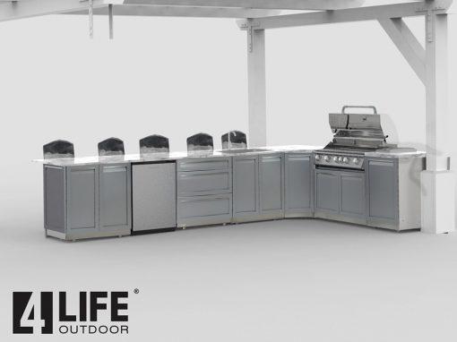 Gray Stainless Steel Outdoor Kitchen Island 7 PC Set: 2x2-Door Cabinet, 1x3-Drawer Cabinet, BBQ, Corner, 22 cabinet, Side panel 20
