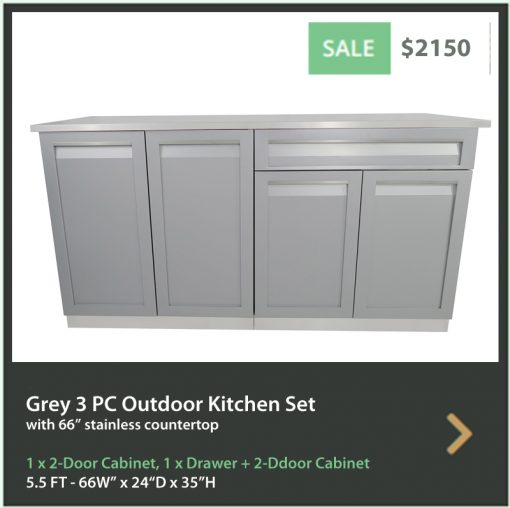 Gray 3 PC Outdoor Kitchen Set: 1 x 2-door cabinet, 1 x Drawer + 2-Door Cabinet, 1x66-Inch Stainless Steel Countertop 8