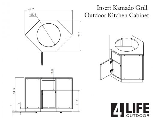Gray 5 PC Outdoor kitchen Island: 1 x 2-Door Cabinet, 1 x 3 Drawer Cabinet, 1 x BBQ, 1 x Kamado, 1 x side panel 16