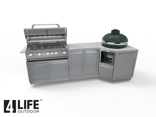Gray 7 PC BBQ Grill Outdoor Kitchen Cabinets: 3x2-Door Cabinet 1xBBQ Grill Cabinet, 1xKamado Cabinet, 2xSide Panels 15