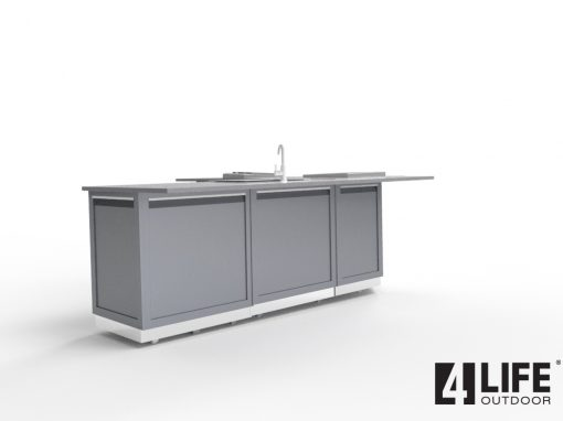 Gray Stainless Steel 9 PC Outdoor Kitchen Set: 2x2-Door Cabinet, 1x3-Drawer Cabinet, 1xCorner Cabinet,Side and Back Panels 18