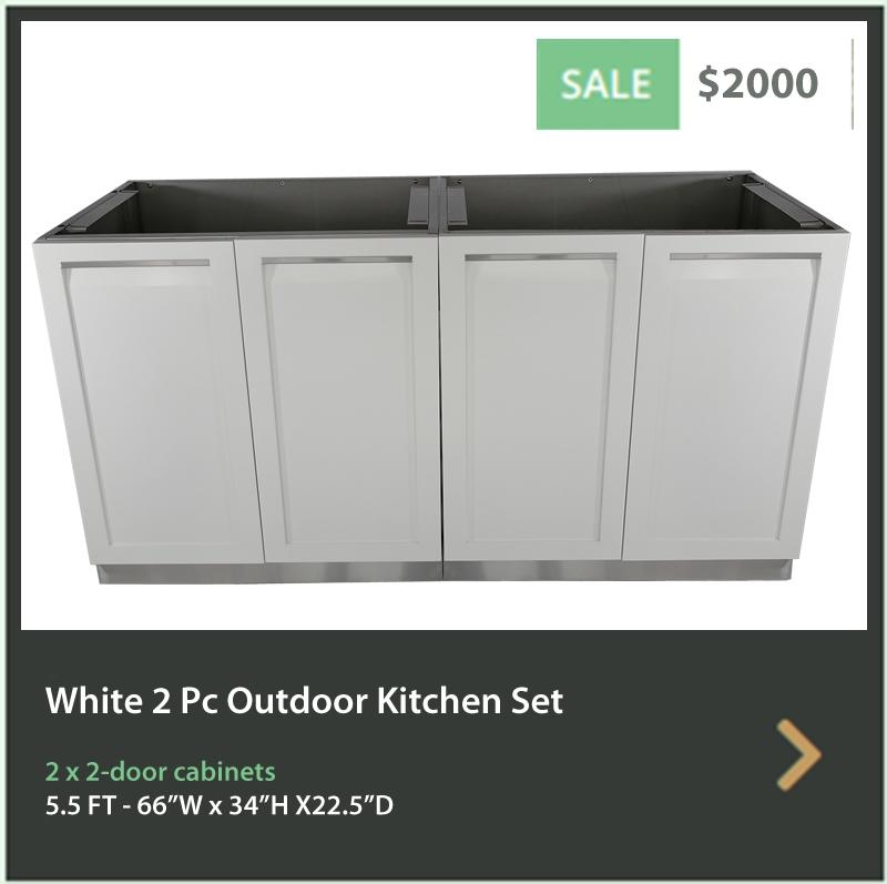 2000 4 Life Outdoor White Stainless Steel 2 PC Outdoor Kitchen 2 x 2-Door Cabinet
