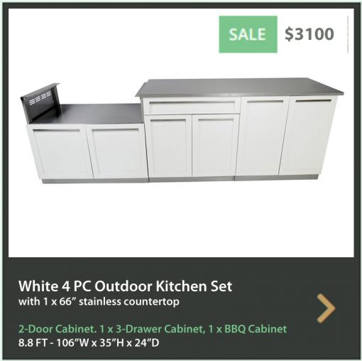 4 Life Outdoor Product Image 4 PC Outdoor kitchen White 2 door Drawer Plus 2-door BBQ 66 inch stainless countertop
