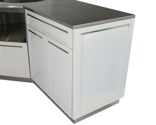 White 9 PC Outdoor Kitchen: BBQ Grill Cabinet, Corner Cabinet, 2 x 2-Door Cabinets, 2x Side panels, corner panel, 2x back panels 18