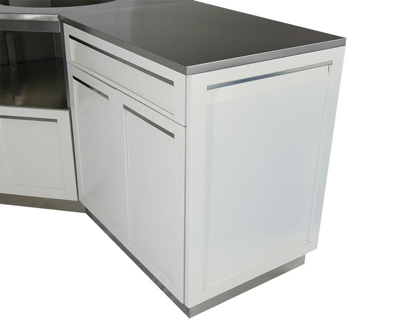 White 9 PC Outdoor Kitchen: BBQ Grill Cabinet, Corner ...