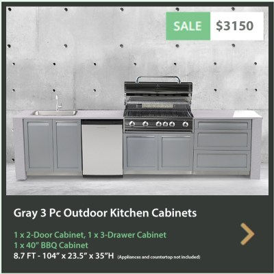 3150 4 Life Outdoor Product Image 3 PC set Gray Stainless Steel Cabinets 1 x 2 Door Cabinet 1 x BBQ Cabinet and 1 x 3 Drawer Cabinet R