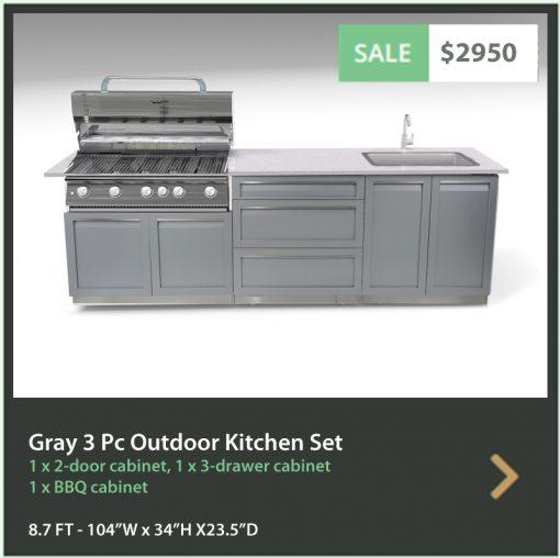 Gray 3 PC Outdoor kitchen Island: BBQ Grill Cabinet, 1 x 2-Door Cabinet, 1 x 3 Drawer Cabinet 13