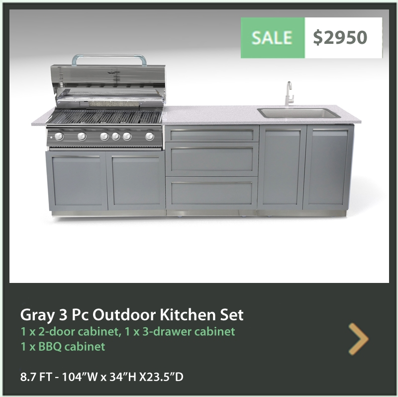 "Gray 4 PC Outdoor Kitchen: BBQ Grill Cabinet, 2 x 2-Door Cabinet, 1x88"" Stainless Countertop 15"
