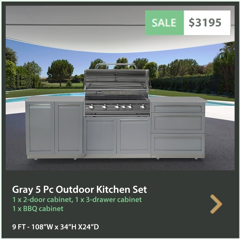 "Gray 4 PC Outdoor Kitchen: BBQ Grill Cabinet, 2 x 2-Door Cabinet, 1x88"" Stainless Countertop 16"