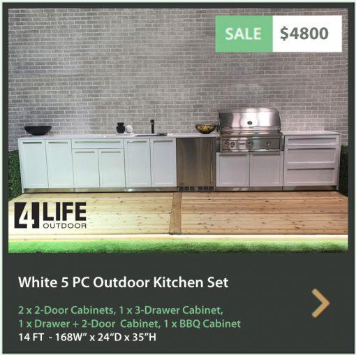 White 5 PC Outdoor Kitchen: 2 x 2-door Cabinet, BBQ Cabinet, 3 Drawer Cabinet, Drawer + 2-door Cabinet, 19