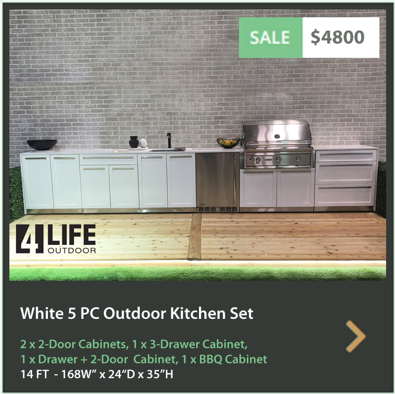 "White 6 PC: BBQ Grill Cabinet, 2 x 2-Door Cabinet, 3 Drawer Cabinet, 34""& 66"" Stainless Countertop 13"