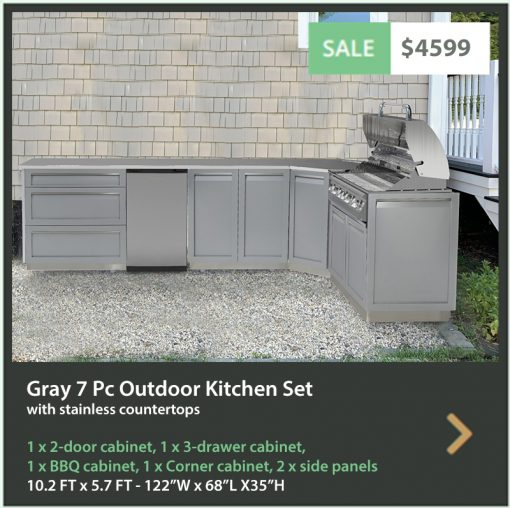 """Gray 7 PC Outdoor Kitchen: BBQ grill cabinet, 2-door cabinet, 3-drawer cabinet, Corner cabinet, 2 x side panels, 88"""" Stainless Countertop 19"""