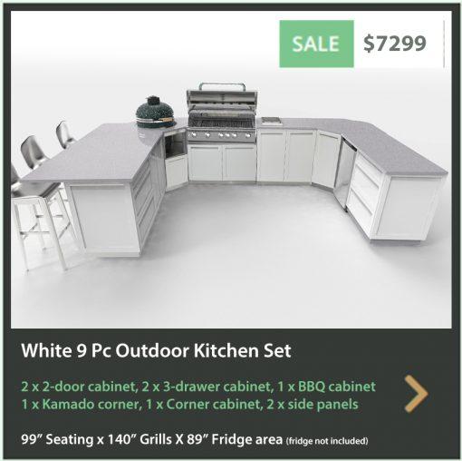 White 9 PC Outdoor Kitchen: 2 x 2-door Cabinet, 2 x 3-drawer, BBQ Cabinet, Kamado Corner Cabinet, Corner Cabinet, 2 x side panels 17