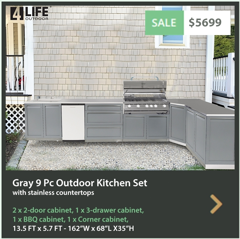 4 Life Outdoor Product Image 10 PC Outdoor Kitchen White 1x2-Door Cabinet 1xDrawer+2-Door 1x3-Drawer 1xKamdo Cabinets 1xBBQ Cabinet 1x32 2x34 Inch stainless Countertops