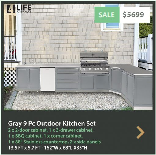 "Gray 9 PC Outdoor Kitchen: BBQ Grill Cabinet, 2 x 2-Door Cabinet, 3-drawer Cabinet, 2 x side panels, 34"" & 88"" Stainless Countertops 15"
