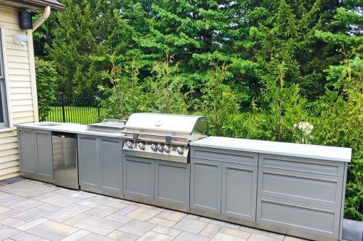 Gray 6 PC Outdoor Kitchen: 2 x 2-Door Cabinets, BBQ Grill Cabinet, 3 Drawer, Combo, Side Panel 17