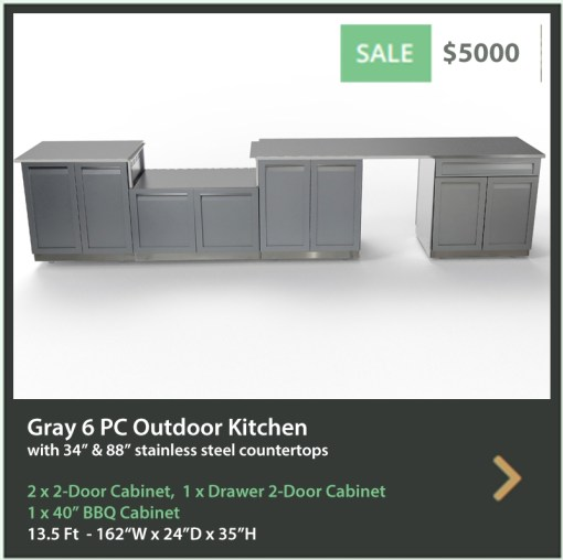 "Gray 6 PC Outdoor Kitchen: 2 x 2-Door Cabinet, BBQ Cabinet, Drawer + 2-Door Cabinet, 1x34"" 1x88"" Stainless Countertops 9"