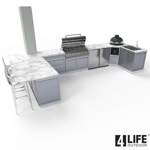 Gray 8 PC Outdoor Kitchen: BBQ Grill Cabinet, Corner Kamado Cabinet, 2 x 2-Door Cabinets, 2 x 3 Drawer, 2x side panels 14