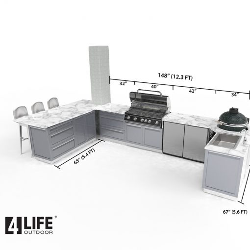 Gray 8 PC Outdoor Kitchen: BBQ Grill Cabinet, Corner Kamado Cabinet, 2 x 2-Door Cabinets, 2 x 3 Drawer, 2x side panels 15