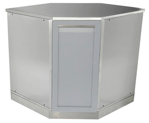 "Gray 5 PC Outdoor Kitchen: 1 x 2-door cabinet, 1 x Corner Cabinet, 1 x 40"" BBQ Cabinet, 2 x side panels 15"