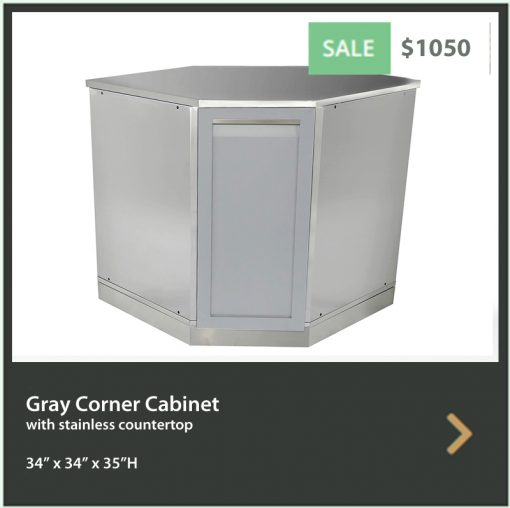 Gray Corner Stainless Steel Outdoor Kitchen Cabinet - G40005 7