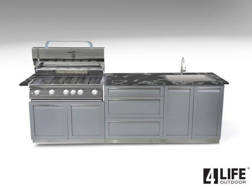 BBQ 3-drawer 2-door cabinets with black countertop