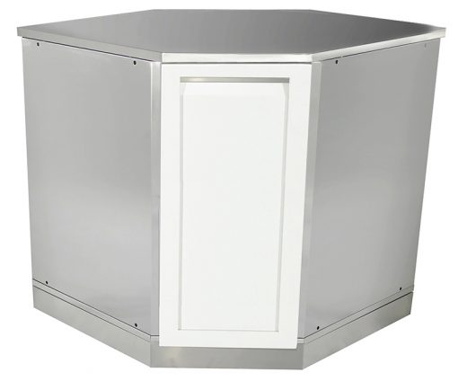 "White 9 PC Outdoor Kitchen: BBQ Cabinet, 2 x 2-Door, 3 Drawer, Corner Cabinet, 88"" and 32"" stainless countertops 10"