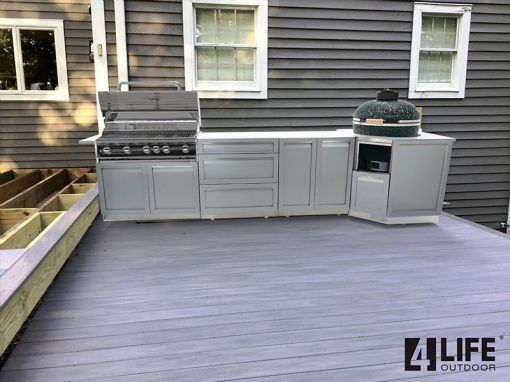 Gray 5 PC Outdoor kitchen Island: 1 x 2-Door Cabinet, 1 x 3 Drawer Cabinet, 1 x BBQ, 1 x Kamado, 1 x side panel 12