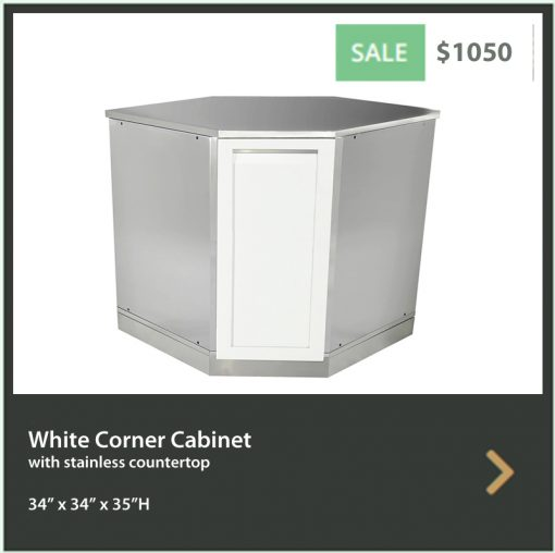 White Corner Stainless Steel Outdoor Kitchen Cabinet - W40055 7