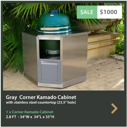 Gray Kamado Grill Stainless Steel Outdoor Kitchen Cabinet - G40006 8