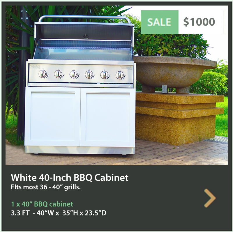 1000 4 Life Outdoor Product Image White 40 inch Drop in BBQ cabinet