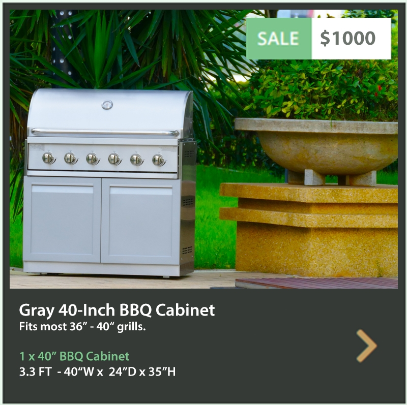 1000 4 Life Outdoor Product Image gray 40 inch Drop in BBQ cabinet1