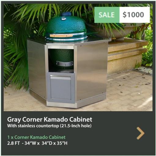 1000 4 Life Outdoor Product Image gray Corner Kamado cabinet