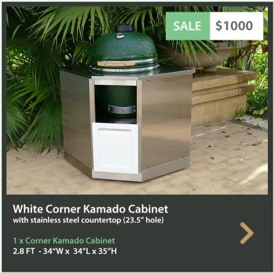 1000 4 Life Outdoor White Corner Kamado Cabinet